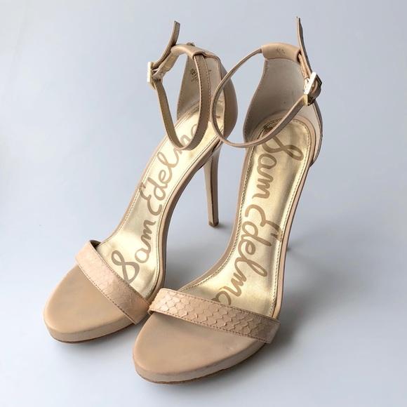 2ac876947 Sam Edelman Leather Nude Strappy Sandal Pumps Sz 8.  M 5b68b88b1070ee97e94d4cb5